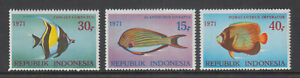 Indonesia Sc 810 - 812 Fish Set 1971 VF/XF Mint Never Hinged