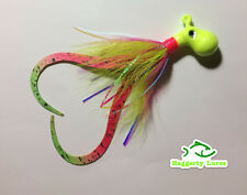 Chartreuse Pink Octopus Bucktail Jig with teaser tails Saltwater size choice