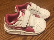 Puma Pink White Leather Strap Toddle Baby Sneaker Tennis Shoes 4C