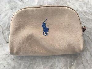 Ralph Lauren Tan Brown Make Up Brush Pencil Case Travel Accessories Zipped Case