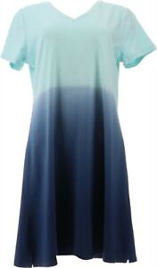 Isaac Mizrahi Ombre V-Neck T-Shirt Dress Blue 1X NEW A379433