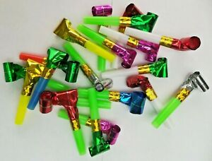 20 Party Blowers Horn Trumpet Blowouts Loot Bag Fillers Birthday New Year Foil