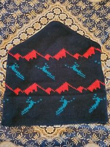 Vtg WINTER SKI HAT 100% Wool HAND MADE IN USA Hyde Park VERMONT 1980s Black Red