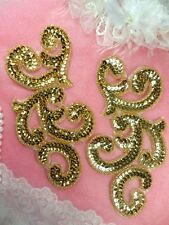 Sequin Appliques Gold Mirror Pair Scroll Designer Beaded Iron On Sewing  XR357