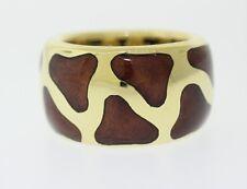 ROBERTO COIN 18k Yellow Gold Inlaid Enamel Giraffe Band Ring 14mm Size 6.5