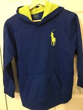 Vintage Polo Ralph Lauren Pullover Hoodie Size M Navy Blue w Yellow Pony Logo!