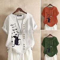 ZANZEA Women Baggy T Shirt O Neck Floral Cotton Blouse Tops Spliced Tee NEW