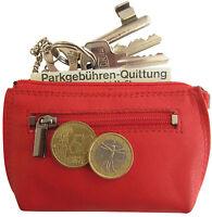 LEDER Schlüsseletui MAXX rot mit 2 Ringen  Schlüsselmäppchen Schlüsseltasche