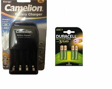 AA/AAA BATTERY CHARGER 4 x AAA  DURACELL RECHARGEABLE BATTERIES LR03 R3