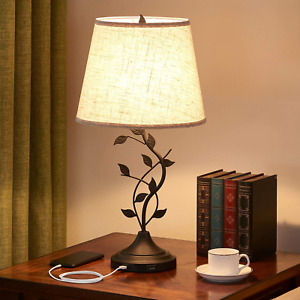 USB Table Lamp Bedside Lamp with Dual USB Charging Ports, Kakanuo 26'' Tradition