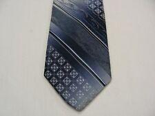Van Gogh - Skinny 7.6cm - Bleu Géométrique à Rayures - Vintage Cravate