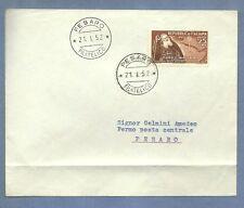 ITALIA BUSTA 1952 FDC ANNULLO STRANO DATA PRIMA DEL GIORNO 21/11 PESARO MASSAIA