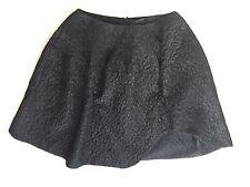 SIMONE ROCHA BLACK FLORAL SATIN QUILTED CLOCHE ASYMMETRIC HEM SKIRT SZ UK 14