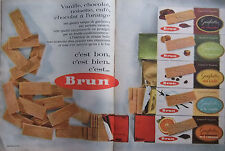 PUBLICITÉ DE PRESSE 1962 BRUN GAUFRETTES VANILLE CAFÉ CHOCOLAT - ADVERTISING