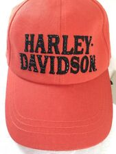 Harley Davidson Women's BB Cap Orange Black Crystal's Adjustable NWT