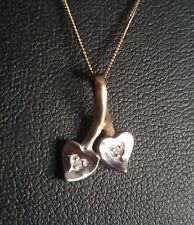 9ct Yellow & White Gold 0.01ct Diamond Double Love Hearts Pendant Chain Necklace