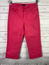 NYDJ Not Your Daughters Jeans Pink Crop Bling Cuffed Capri Womens Sz 6 30x20