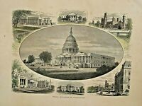 Public Buildings In Washington, Architecture, Hand Color, 1874 Antique Art Print