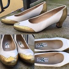 Ros Hommerson Gold & White Leather Spectator Pumps 9 N Pinup Rockabilly