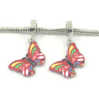NEW 2pcs Silver Butterfly European Charm Spacer Beads Fit Necklace Bracelet