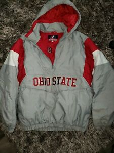 Y2K Majestic Kangaroo Pouch Hooded Ohio State Buckeyes Puffer Jacket Size M