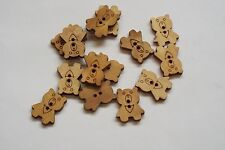 10pc 22mm Untreated Wooden Teddy Bear Shaped Craft Button 0955