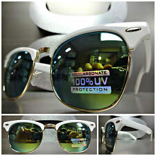 New CLASSIC VINTAGE 60's RETRO Style SUN GLASSES White & Gold Frame Mirror Lenss