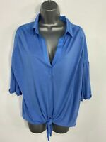 WOMENS NEXT BLUE V NECK COLLARED SHORT SLEEVED TIE FRONT CASUAL SUMMER TOP UK 16