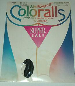 VTG NOS Underalls SZ C-D Non-Support Coloralls Pantyhose & Panties 325 Black NIP