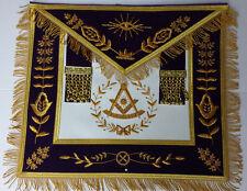 Masonic Hand Embroidered Bullion Made Past Master Purple Apron Gold with Fringe