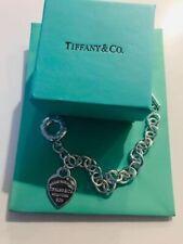 "Tiffany & Co. 925 Sterling Silver  7.5"" Heart Tag Charm Bracelet"