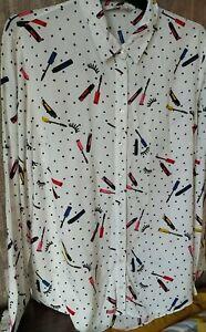 Stunning White Polka Dot Blouse Shirt Size 18 Mascara Eyelashes Long Sleeve Spot