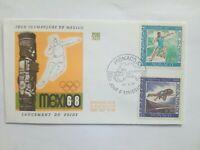 MONACO Timbre 1° jour FDC lettre JO MEXICO 1968  Poids-Saut en Hauteur
