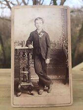 Antique CDV Photo 1800s Victorian Boy Rosary Catholic Louisville Kentucky .