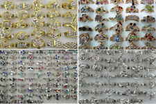 Wholesale Lots 50pcs Rhinestone Multicolor Charm Lady's Romantic Rings Jewelry