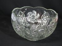 Vintage McKee Pattern Press Cut Glass Punch Bowl Whirling Star Diamond