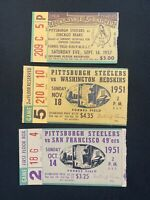 3 Pcs 1951 1957 Pittsburgh Steelers Ticket Stub Memorabilia Bears Redskins 49Ers