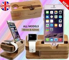iPhone Wooden Charger Dock Bamboo Wood Cradle Watch and Phone Holder Stand