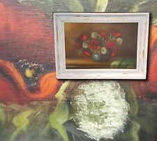 Shabby Chic: orig. antico Dipinto a olio Natura morta con fiori,firmato L.