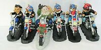 Lot Of 6 Motorcycling Sculptures 5 Bears By Faithful Fuzzies 1 Santa Collectible