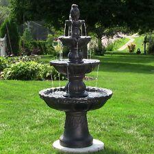 Black 4 Tier Outdoor Garden Water Fountain Garden Yard Decor Water Feature Lawn