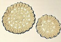 """Vintage Hand Crocheted Doily Set of 2 Ivory Blue 12"""" and 8"""""""