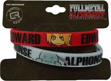 FullMetal Alchemist Ed & Al Elric Pvc Rubber Skinny Wristband Set of 2 Official