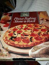 Pizza Baking Stone and rack. Italian Villa.12.5 inch stone.