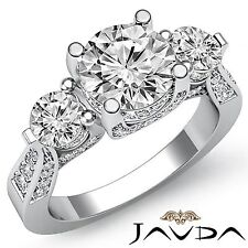 Unique Round Cut Diamond Engagement 3 Stone Ring GIA F VS2 14k White Gold 2.2ct