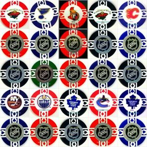 100++ LICENSED COLLECTIBLE NHL HOCKEY POKER CHIP LOT U PICK FROM LIST WHOLESALE