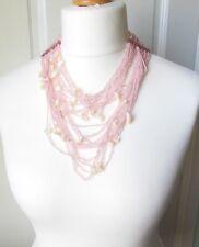 Fabuloso Vintage Multi Strand Rosa Pálido pequeño granos collar con piezas de Shell