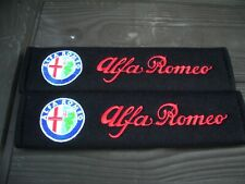 A PAIR OF NEW EMBROIDERED ALFA ROMEO SEAT BELT COVERS