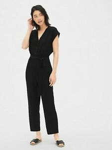 Gap Short Sleeve Button-Front Jumpsuit True Black NWT $79 MT Medium Tall