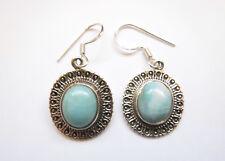 Sterling Silver Blue Larimar Oval One-stone Dangle Earrings